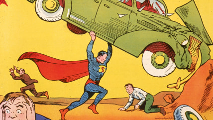 Cover illustration of the comic book Action Comics No. 1