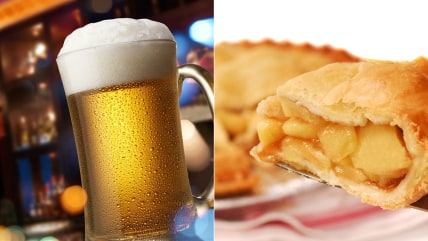 apple pie and beer for Pie 'n Beer Day!