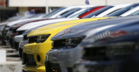 A group of Chevrolet Camaro cars for sale is pictured at a car dealership in Los Angeles, California in this April 1, 2014 file photo. Automakers repo...
