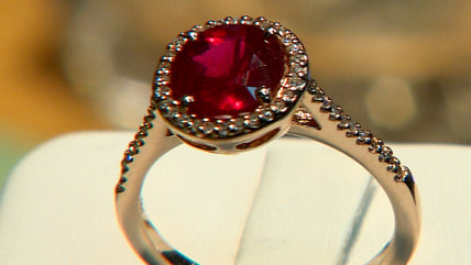 The ruby set in this ring is filled with lead glass.