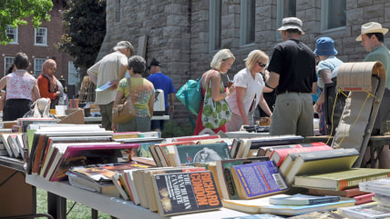 OTTAWA, CANADA MAY 29:   Thousands of people gather at the annual Glebe neighborhood garage sale which takes place for several blocks in the Glebe are...