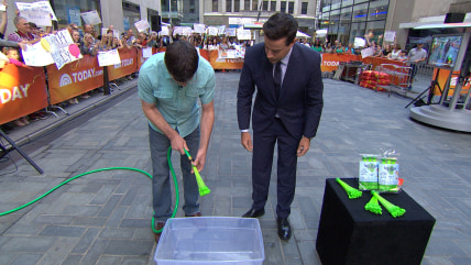 Inventor Josh Malone showed off his Bunch O Balloons invention to Carson Daly that can fill 100 water balloons in less than a mi