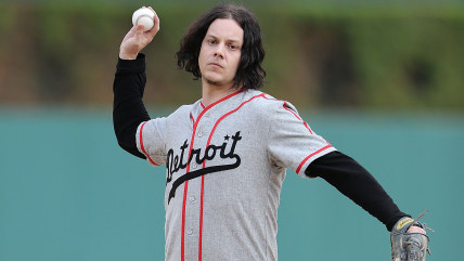 Image: Musician and Detroit Native Jack White throws out the first pitch prior to the start of the game between the Chicago White Sox and the Detroit Tigers