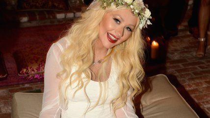 LOS ANGELES, CA - JULY 12:  Christina Aguilera poses during her baby shower held at a Private Residence on July 12, 2014 in Los Angeles, California.  ...