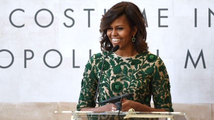 US First Lady Michelle Obama speaks before cutting the ribbon officially opening The Costume Institutes new Anna Wintour Costume Center at The Metropo...