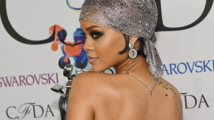NEW YORK, NY - JUNE 02:  (EDITORS NOTE: Image contains partial nudity.) Fashion Icon award recipient Rihanna attends the winners walk during the 2014 ...