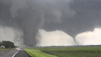 Two tornadoes touch down near Pilger, Nebraska June 16, 2014. Large tornadoes hit rural areas of northeastern Nebraska on Monday afternoon, with repor...