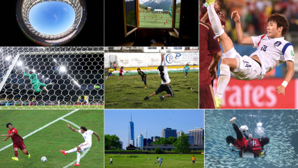 A collage of photos from the World Cup and other soccer events throughout the world.