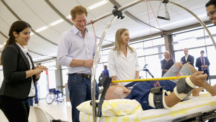 BRASILIA, BRAZIL - JUNE 23:  Prince Harry meets patients at the Rede Sarah Hospital for Nerological Rehabilitation injuries on June 23, 2014 in Brasil...