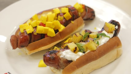 hot dogs with grilled pineapple salsa by James Briscione.