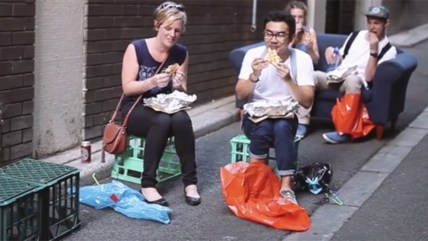 People eating jaffles from parachute.