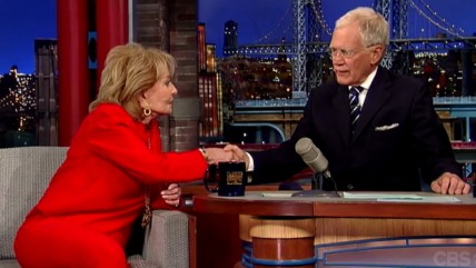"Barbara Walters and David Letterman on ""Late Night"" on May 14, 2014."