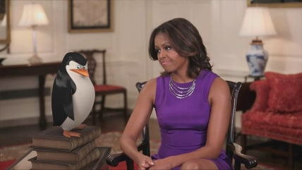 Michelle Obama teams up with 'Penguins of Madagascar.'