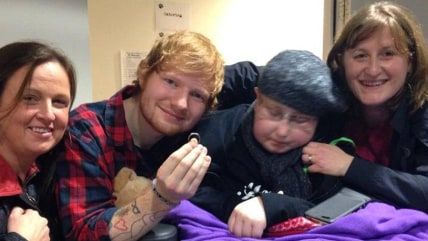 Ed Sheeran with Katie Papworth and her family.