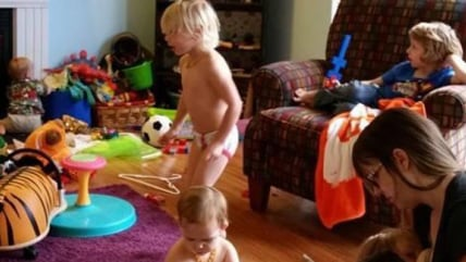 Elizabeth Broadbent, pictured here in her house in its natural state (full of kids and clutter), is speaking out about the dirty little secret many parents keep.