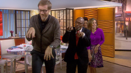 Image: Stephen Merchant leads TODAY gang in dance