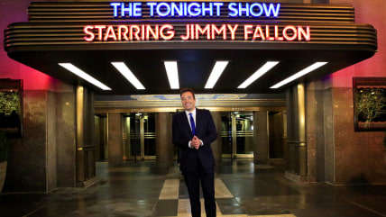 "Host Jimmy Fallon unveils the new ""Tonight Show Starring Jimmy Fallon"" marquee on Monday.  The prominent 6th Avenue marquee is the first at NBC''s corporate headquarters."