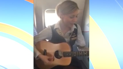 Flight attendant sings Lorde