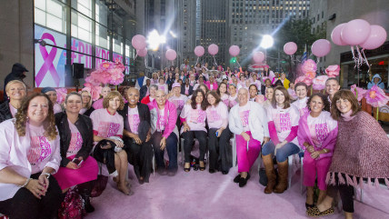 Breast cancer survivors and supporters show their #PinkPower on the plaza.