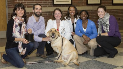 (L-R) Charlie and her owner Jessica Parsons with the veterinary medical team that treated Charlie at Purdue University Veterinary Teaching Hospital (D...