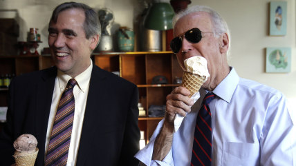 Vice President Joe Biden, right, and U.S. Sen.  Jeff Merkley enjoy ice cream cones after a campaign rally in Portland, Ore., Wednesday, Oct. 8, 2014. ...