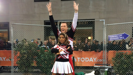 Willie Geist and Tamron Hall as Spartan cheerleaders