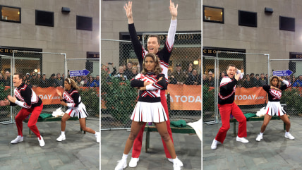 Willie Geist and Tamron Hall as the Spartan cheerleaders.
