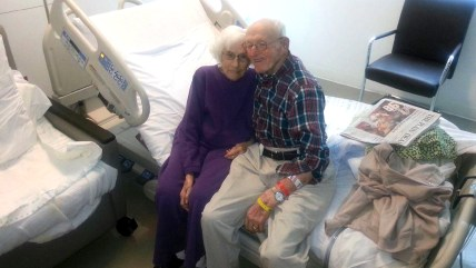 "Raymond ""Huggie Bear"" Huggins and his wife, Mazie Leota, both had life-saving heart surgery on the same day."