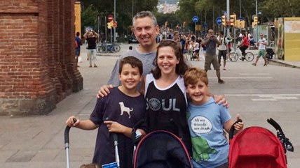 The author, her husband and their five kids on their recent trip to Barcelona.