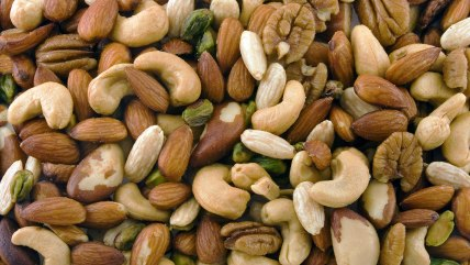 Close up of assorted mixed nuts background