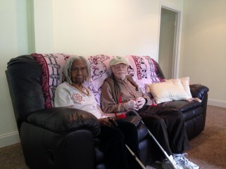 This photo taken Aug. 5, 2014 shows 96-year-old Edith Hill and 95-year-old Eddie Harrison in their home in Annandale, Va. The two have been companions...
