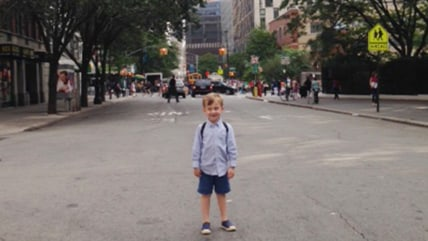 Wilson, 5, in his lower Manhattan neighborhood.