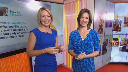 Dylan Dryer and Jenna Wolfe read tweets and social media posts congratulating Jenna on her new role with TODAY.