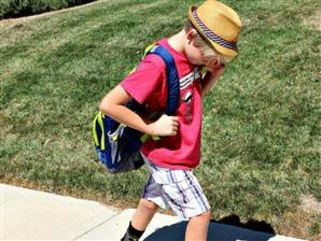 The author's son on his way to school.