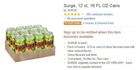 Surge soda on Amazon