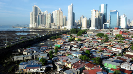 View of Punta Pacifica neighborhood, in Panama City on April 24, 2013. AFP PHOTO/ Rodrigo ARANGUA        (Photo credit should read RODRIGO ARANGUA/AFP...