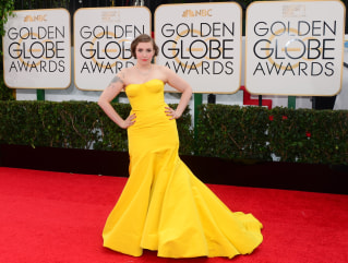 Actress and director Lena Dunham arrives on the red carpet for the Golden Globe awards on January 12, 2014 in Beverly Hills, California.    AFP PHOTO ...