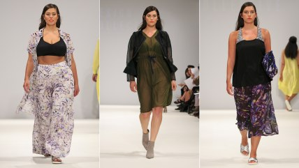 Looking good: Models walk the runway for British retailer Evans at London Fashion Week.