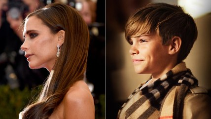 Victoria Beckham and newly-minted model son Romeo Beckham.