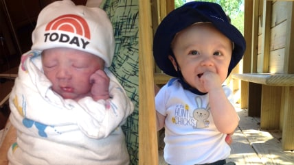 Taylor Hojnacki on the day he was born live on TODAY (left) and at 7 months old.