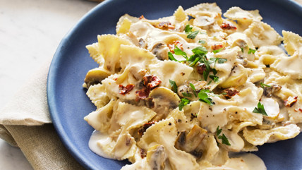 Bow ties with a garlic cream sauce