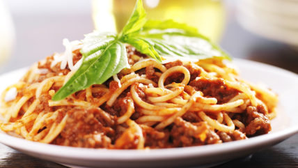 spaghetti dinner with meat sauce and basil; Shutterstock ID 163299311; PO: TODAY.com