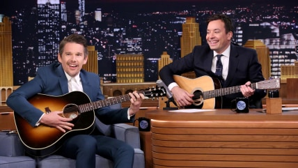Ethan Hawke with Jimmy Fallon