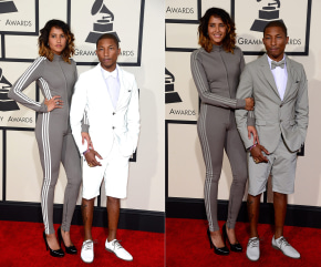 Pharrell Williams (R) and wife Helen Lasichanh