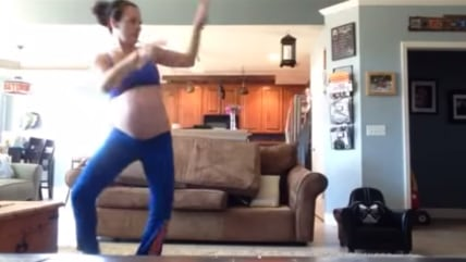 "Image: Pregnant mom Bonnie Northsea dances to ""Thriller"" to induce labor."