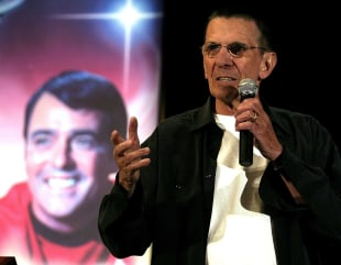 "Leonard Nimoy, who played ""Spock"" in the Star Trek television series speaks at the ""Beam Me Up Scotty...One More Time The James Doohan Farewell Star T..."