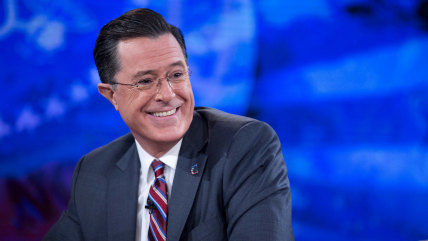 """WASHINGTON, DC - DECEMBER 8:  (AFP OUT) Television personality Stephen Colbert during a taping of Comedy Central's """"The Colbert Report"""" with U.S. Pres..."""