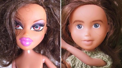 "Australian artist Sonia Singh has taken old Bratz dolls and given each a ""make-under,"" wiping away most of the makeup and outfitting them with more co..."