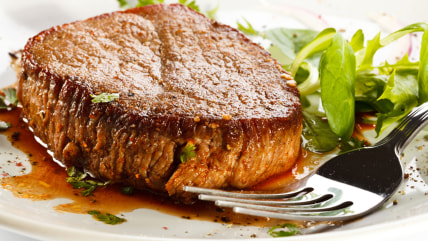 Grilled steak and vegetables; appetizer; background; baked; barbecue; barbecued; beef; beefsteak; chop; cooked; cutlet; diet; dining; dinner; dish; ea...