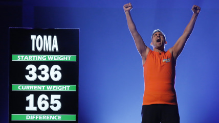 "Image: Toma Dobrosavljevic celebrates on ""The Biggest Loser"" season finale."